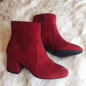 red suede block heeled booties